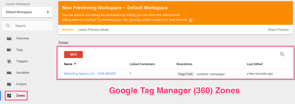 google tag manager 360 zone contenitore
