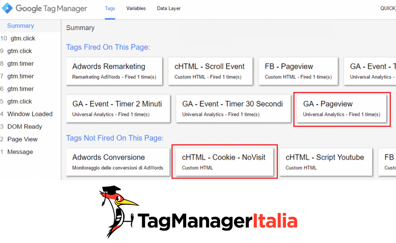 verifica esclusione cookie google tag manager step1