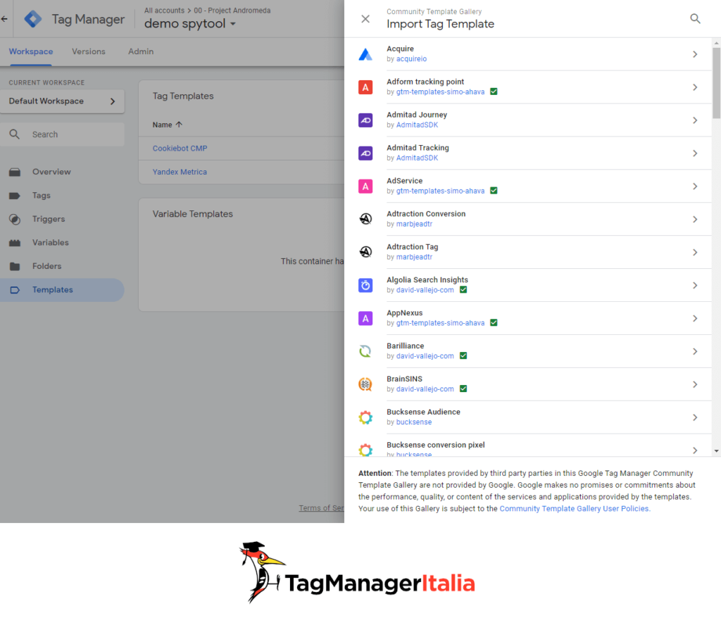 community template galler import tag template in GTM